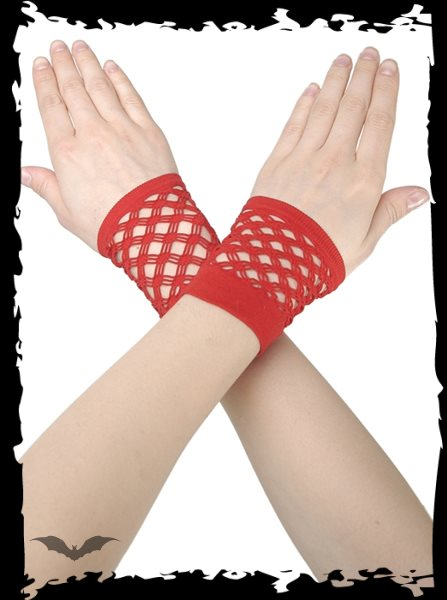 Red net gloves without fingers