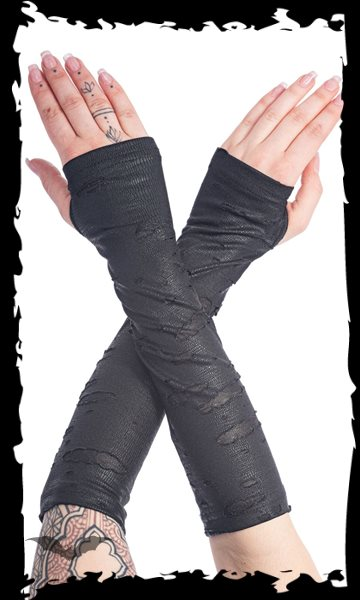 Gloves with slits and holes, covered wit