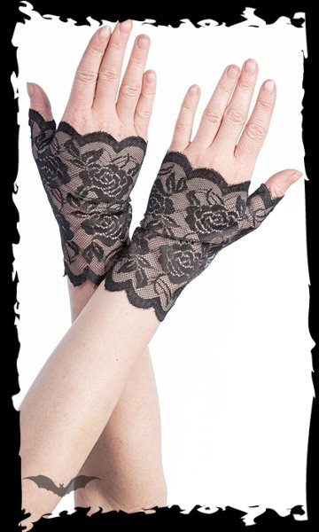 Fingerless Gloves with floral pattern