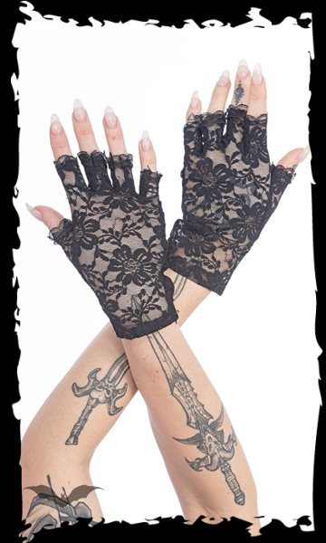 Fingerless lace gloves with floral patte