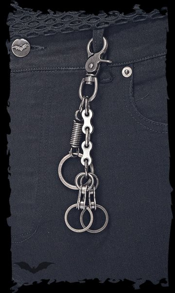 Key ring decorated with spring and bicyc