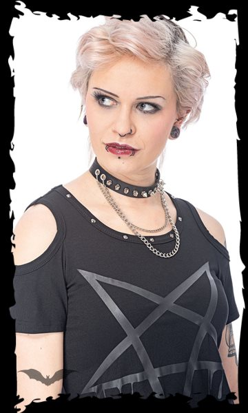 Choker with studs and 2 chains, adjustab