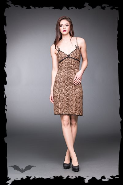 Long leopard print dress with black lace