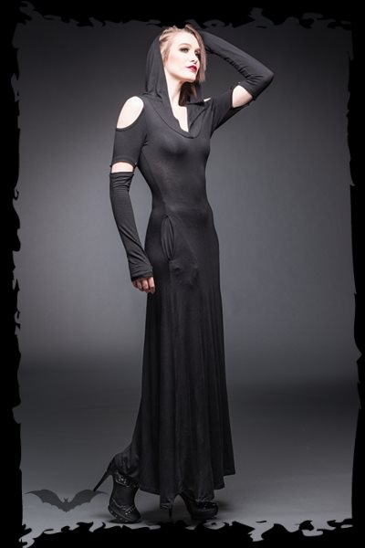 Long hooded Dress with cut out Shoulders