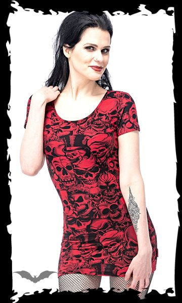 Red dress with many different skulls
