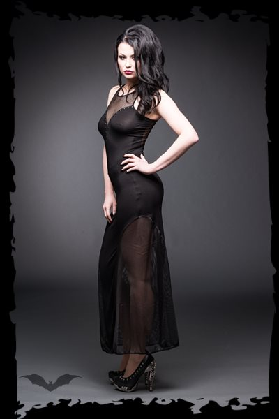 Long net dress with plunging neckline