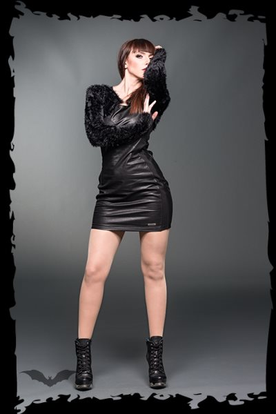 Leather-look minidress with decorative s