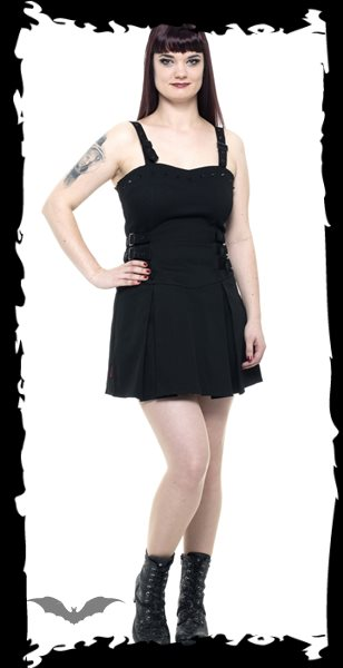 Little black dress with studs and buckle