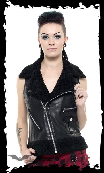 Leather Vest with Furry Collar