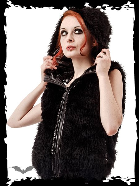 Reversible Hooded Vest with Furry and Sh