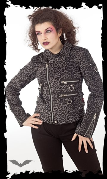 Grey Leopard Jacket with many Zippers