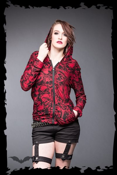 Red jacket with many different skulls