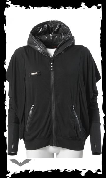 Black jacket with shiny hood