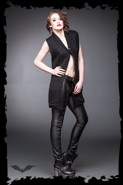 Knit vest with long frontside