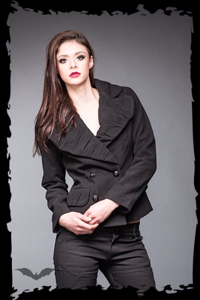 Black jacket with big collar