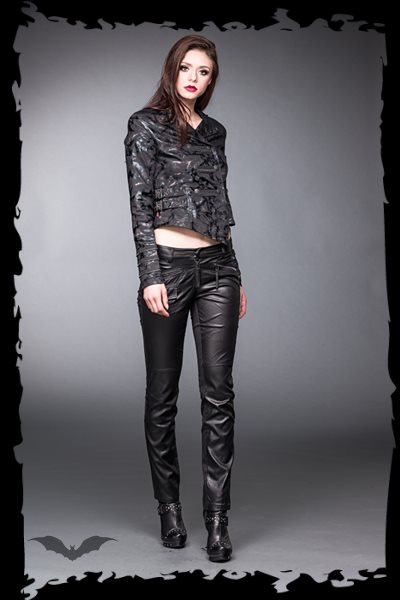 Shiny military look jacket with buckles