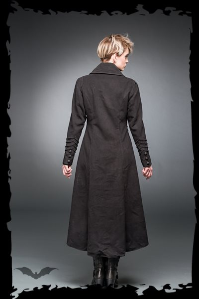Long coat with decorative stitching
