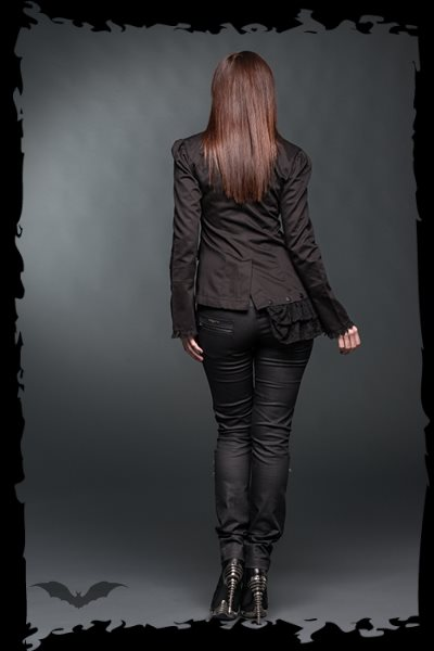 Asymmetrical jacket decorated with lace