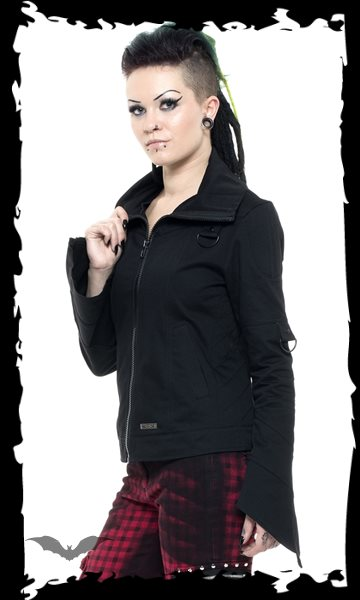 Jacket with seams and bell-shaped sleeve