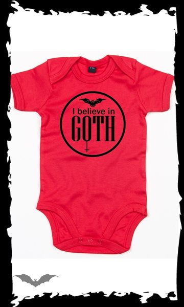 Red Baby bodysuit -I believe in Goth-