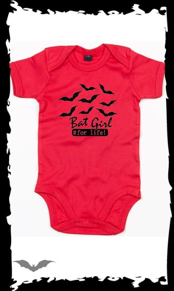 Red Baby bodysuit -Bat Girl-