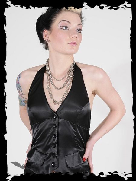 Black satin fitted halter vest