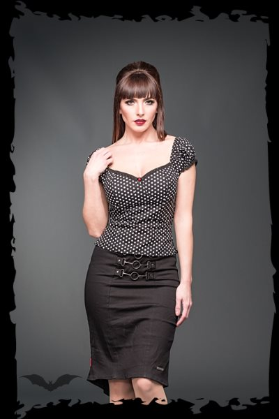 Black Corsage top with white dots
