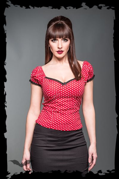 Red Corsage top with white dots