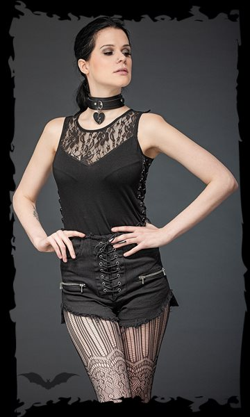 Top with lace insert and side lacing