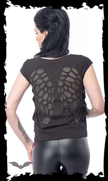 Shirt with print, transparent wings on t