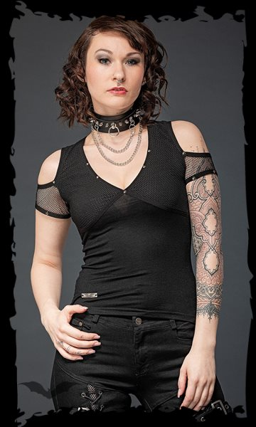 Shoulder-free shirt with mesh and studs
