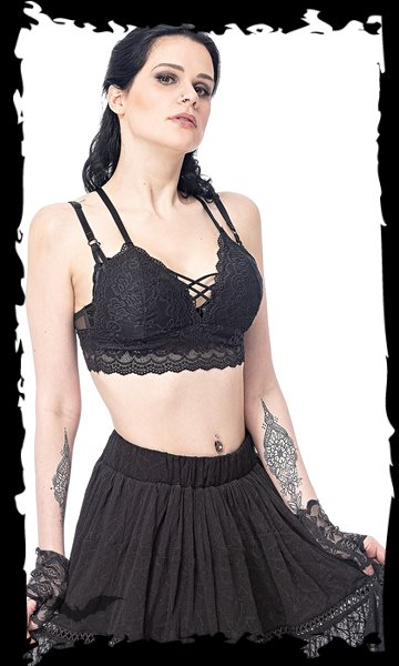 Lace bustier top, belly-free
