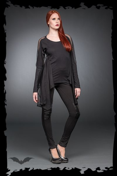 Black long shirt with cape