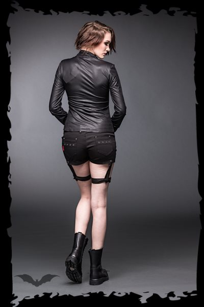 Black leather-look blouse