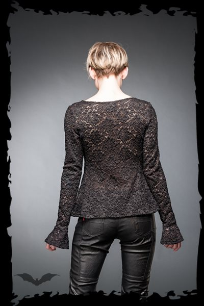 Lace shirt with gathers and trumpet slee