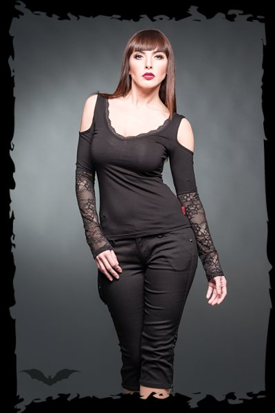 Shirt With Sleeves Made Of Lace