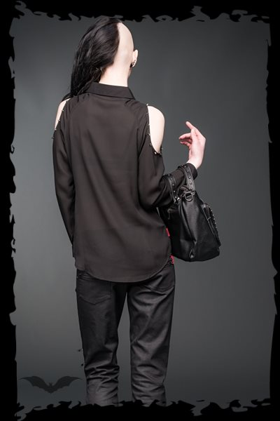 Transparent shoulder-free blouse decorat