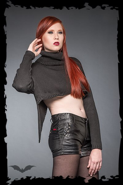 Asymmetrical Pullover With Bare Midriff