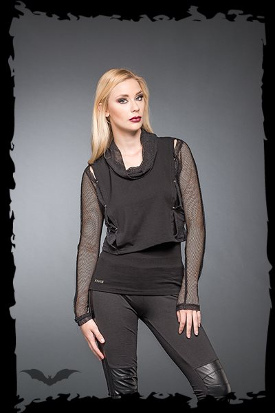 Shirt With Loose Neck And Net-Sleeves