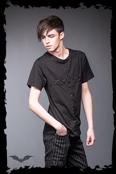 Black shirt with cross lacing