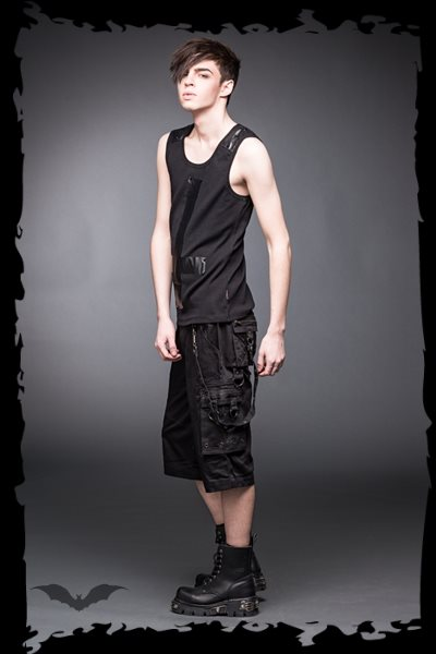 Tank top with leather look cross