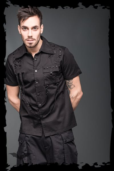 Button-down shirt with bondages, rivets
