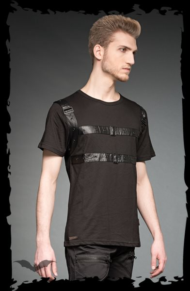 T-Shirt with PVC elements and buckle