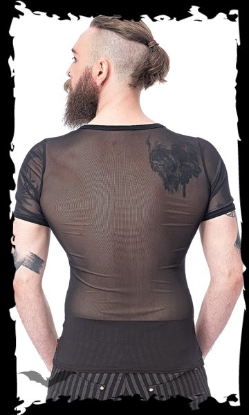 Short-sleeved mesh shirt with D-ring on