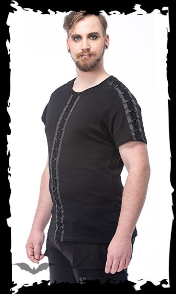 Shirt with black rings on sleeves and on