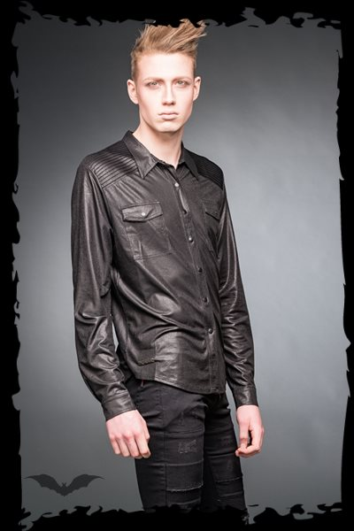 Leather-look shirt with chest pockets