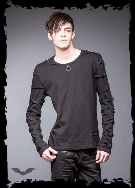 Black shirt with many rings and studs