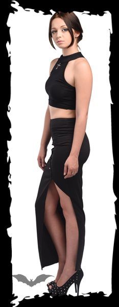 Long black skirt with thigh split and st