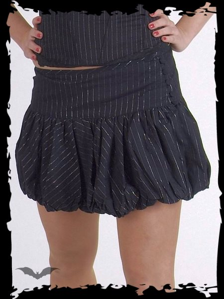 Black pinstripe mini with gathered hem