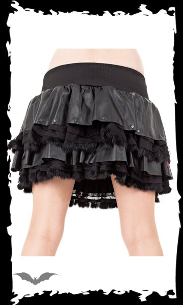 Layered Leather and Ruffle Skirt